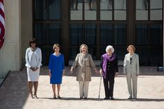 First Ladies (from left to right) Michelle Obama, Laura Bush, Hillary Clinton, Barbara Bush, and Rosalynn Carter during the dedication of the George W. Bush Presidential Library and Museum in 2013.