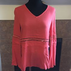 Coral Boho thin top This top is a beautiful coral shade with a lot of detail. It's an acrylic blend that is very soft and delicate. Hand wash and lay flat to dry. Size is medium but would work for most small's as well. doe & rae Tops Blouses