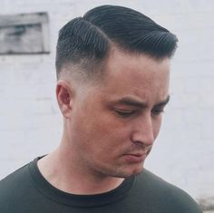 Side Part Haircut with Low Drop Fade - Crew Cut Fade Haircut