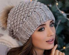 Cappello di pom pom donne berretto cappello di pelliccia  7fd149570e46