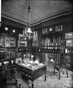 12 Portland Place (c) English Heritage.NMR Reference Number: BL12011 The library at 12 Portland Place, looking towards the fireplace. The photograph was taken for the owner, William Hunter Kendal Grimston, referenced as W H Kendal in the Bedford Lemere daybook. It shows interior design by Gregory and Company.