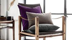 Housse carrée : 7,95 euros Housse rectangulaire : 5,95 euros - Housses coussin grises violettes H&M