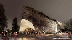 Bustler: Taichung City Cultural Center Entry by Sériès et Sériès Perlin Noise, Architectural Animation, Camera Wallpaper, Urban Intervention, Exterior Rendering, Building Concept, Cultural Center, Built Environment, Museum Of Fine Arts