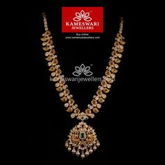 Traditional gold necklaces for women from the house of Kameswari. Shop for antique gold necklace, exquisite diamond necklace and more! Gold Earrings Designs, Gold Jewellery Design, Necklace Designs, Silver Jewellery, Gold Designs, Necklace Ideas, Antique Jewellery, Simple Necklace, Indiana