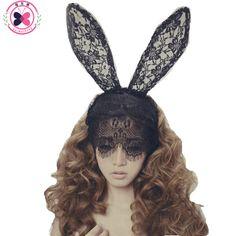 Haimeikang acessorioパラcabelo女性女の子ヘアバンドレースセクシーなウサギのバニー耳ベールパーティー帽子ヘアアクセサリーイースター