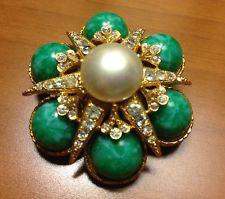 Signed MARVELLA Rhinestone Green Cabochons Goldtone Pearl Brooch & Earring  Set
