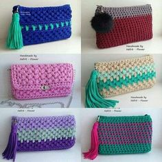 Discover thousands of images about Handmade T-Shirt Bag Crochet Crochet Clutch Bags, Crochet Wallet, Crochet Pouch, Crochet Diy, Crochet World, Crochet Handbags, Crochet Purses, Love Crochet, Crochet Crafts