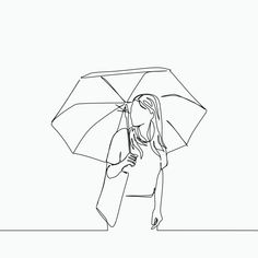 Single line drawing of a women using umbrella and bag PNG and Vector Outline Art, Outline Drawings, Easy Drawings, Single Line Drawing, Continuous Line Drawing, Minimalist Drawing, Minimalist Art, Minimal Drawings, Atelier D Art