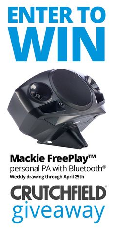 I entered the @Crutchfield Sweeps to win 1 of 4 Mackie FreePlay Personal PAs with Bluetooth. You can too – #GGGEntry #win