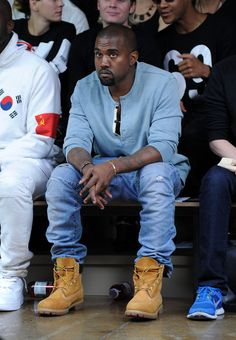 @royal Kanye West wearing @Timberland #yellowboots at the Hood by Air fashion show at @John Searles Searles