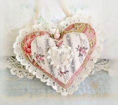 Sachet Heart Ornament 6 inch Ruffled Heart Rose by CharlotteStyle Satin Ribbon Roses, Fabric Hearts, Lavender Buds, Heart Pillow, Lace Heart, Heart Ornament, Machine Applique, Sachets, Pink Fabric