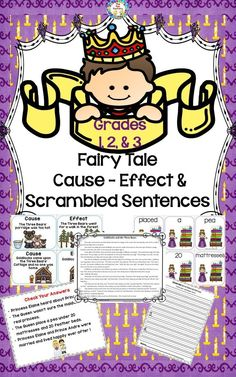"""Cause Effect and Scrambled Sentences, Grades, Using Fairy Tales. Covers MANY Common Core Objectives! Recently updated to be more """"teacher-friendly"""" for cutting out and a story for each fairy tale is now included. Clip art has also been up Rhyming Activities, Art Therapy Activities, Teaching Reading, Teaching Ideas, Guided Reading, Student Teaching, Reading Skills, Learning, The Fun Factory"""
