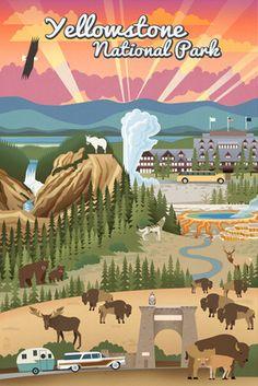 Yellowstone National Park - Retro View - Lantern Press Poster