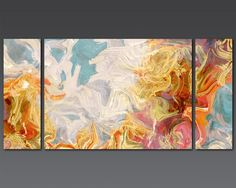 Large contemporary abstract 30x60 triptych by FinnellFineArt, $375.00