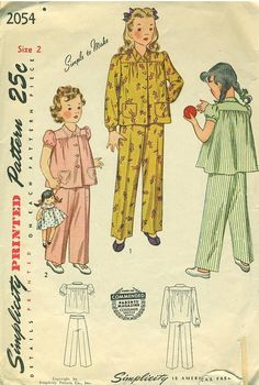 1940s pajamas sewing patterns, however I think I had this style in the early 70's.......
