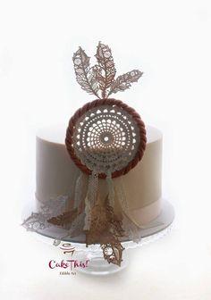 this stunning dream catcher cake Beautiful Cake Designs, Beautiful Cakes, Dream Catcher Cake, Cowboy Birthday Cakes, Bohemian Cake, Feather Cake, Naked Cakes, Fondant Cookies, Boho Theme
