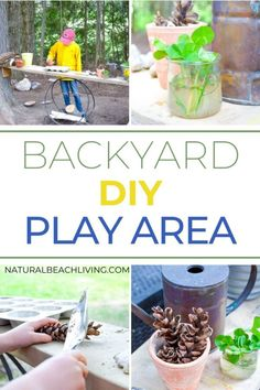 How to create an Easy DIY Backyard Play Area on a budget that is lots of fun without the costs. This DIY science table and mud kitchen is perfect for outdoor STEM Projects and kids play spaces, learn how to use recycled materials for play, and exploring. Let's create a natural play space for kids that they LOVE. Kids Play Spaces, Outdoor Play Spaces, Outdoor Activities For Kids, Nature Activities, Backyard Play, Backyard For Kids, Diy Mud Kitchen, Natural Play Spaces, Kids Playing