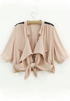 Pink Plain Ruffle Half Sleeve Loose Chiffon Coat