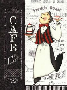 Cafe Waiter by Sydney Wright art print Chef Pictures, Kitchen Pictures, Chef Kitchen Decor, Kitchen Art, Poster Café, Coffee Artwork, Pause Café, Foto Transfer, Coffee Theme