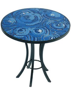 Mosaic Table  Cool Ocean Blue