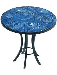 mosaic table- cool ocean blue