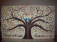 Wedding Thumbprint Guest Tree...Guest book Alternative...Also for baby showers....Anniversaries and Engagements....300 Guests #decor $175