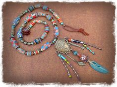 AFRICAN Spirit necklace Colorful Chunky necklace Long by GPyoga, $159.00