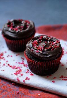 Fudgy Dark Chocolate Cupcakes for Two via The Baker Chick