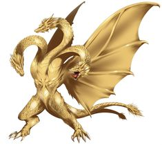 The physical embodiment of fear, King Ghidorah is just as malevolent and power-hungry as Makuta Teridax if not worse. King Ghidorah appears to be a three-headed golden dragon with two legs, no arms, fan-like wings and a tail that splits at the base. All Godzilla Monsters, Horror Monsters, Fantasy Dragon, Dragon Art, Weird Creatures, Magical Creatures, Kingdom Hearts Wiki, Giant Monster Movies, Cool Cartoons