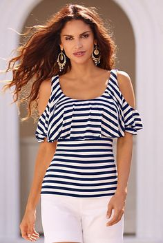 Stripe ruffle cold-shoulder top