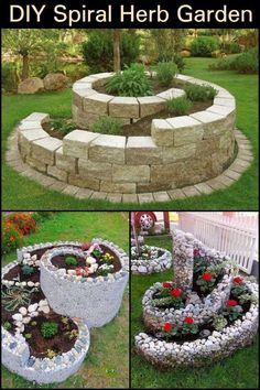 Maximize your garden space by growing a spiral herb garden. - Gardening support 2019 Maximize your garden space by growing a spiral herb garden. , space doing garden. Diy Herb Garden, Herb Garden Design, Garden Yard Ideas, Garden Spaces, Garden Projects, Garden Ideas With Pavers, Garden Planters, Outdoor Projects, Garden Ideas On A Budget