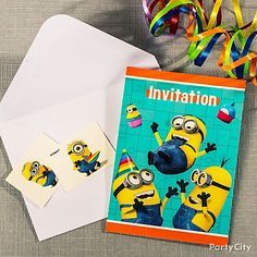 It's not mayhem until all the minions are gathered! Send out special Despicable Me invites to disclose the secret lair location!