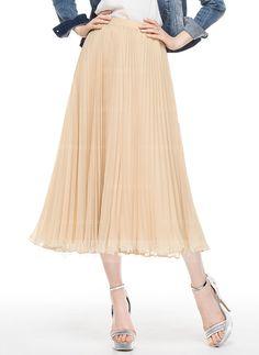 [NZ$ 60.34] A-Line/Princess Tea-Length Chiffon Cocktail Skirt With Pleated