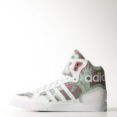 """These Hawaiian-print hi tops are an island-inspired take on a heritage adidas basketball style. The women's shoes are built in casual canvas with leather overlays and a comfortable jersey lining. An oversize """"adidas"""" wraps around the heel."""