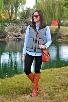 Wake Up Your Wardrobe What I Wore: Herringbone Vest J.crew, Tory Burch Riding Boots, Coach Cross Body, Embellished Button Up