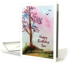 #Happy #Birthday #Son #Landscape #Watercolor #Card #handpainted