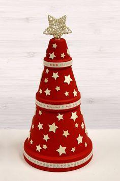 basteln blumentöpfen weihnachten tannenbaum rot sterne