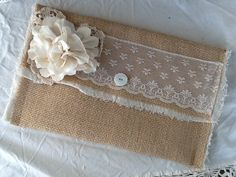 Burlap and Lace wedding clutch bridesmaids by burlapheartstrings