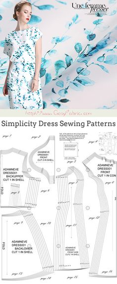 Simplicity Dress Sewing Patterns Dress Sewing Patterns, Sewing Patterns Free, Free Sewing, Short Sleeve Dresses, Dresses With Sleeves, Silk Fabric, Tutorials, Happy, Women