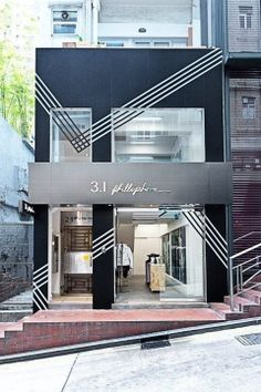 Philip Lim pop up store, I like the facade with the use of a monochromatic palette and how this changes when the material changes