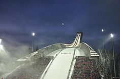 Holmenkollen Ski Museum. ski jumping event night