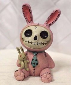 Furry Bones Pink Bun Bun Bunny Skeleton Animal Figurine Free S&H