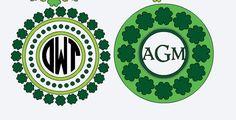 St. Patrick's Day Vinyl Decal, Monogram Shamrock sticker, Name decal, Circle, Vine or Various Fonts, Irish Design, March 17th Vinyl decal