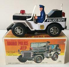 NOMURA (TN) JAPAN BATTERY OPERATED RADAR POLICE JEEP ~ WORKING ORDER ~ BOXED   eBay