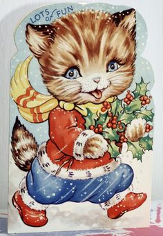 Vintage Greetings Card Lots of Fun Christmas