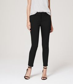Search for the perfect black pants continues... | Tech Stretch Skinny Ankle Pants in Marisa Fit | LOFT