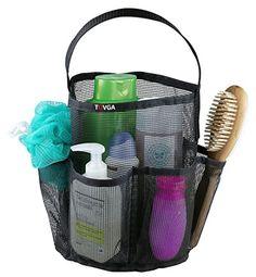Black Friday Sale!! Tovga (TM). - Dorm Shower Caddy - Mesh Storage - Rust Proof - Quick Dry - Deep Pockets - Thick Canvas Handle - Tall Center Storage (Black)