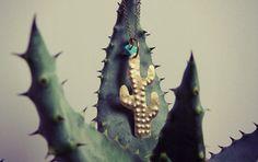 Saguaro necklace  boho gypsy tribal folk cactus par hinageshii