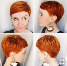 Red Pixie Cut (the style not the color) Short Pixie Haircuts, Pixie Hairstyles, Short Hair Cuts, Short Hair Styles, Red Pixie Haircut, Short Red Hair, Red Pixie Cuts, Pixie Cut Back, Edgy Pixie