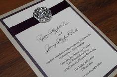 Glamorous Wedding Invitation, Classic Wedding, Luxurious, Glitz, Bling - Eggplant and Gold or Champagne Wedding, Rhinestone Brooch. $6.50, via Etsy.